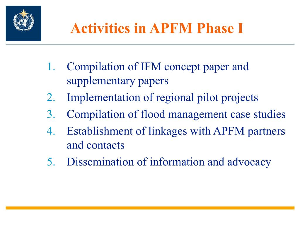Activities in APFM Phase I