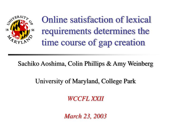 online satisfaction of lexical requirements determines the time course of gap creation n.