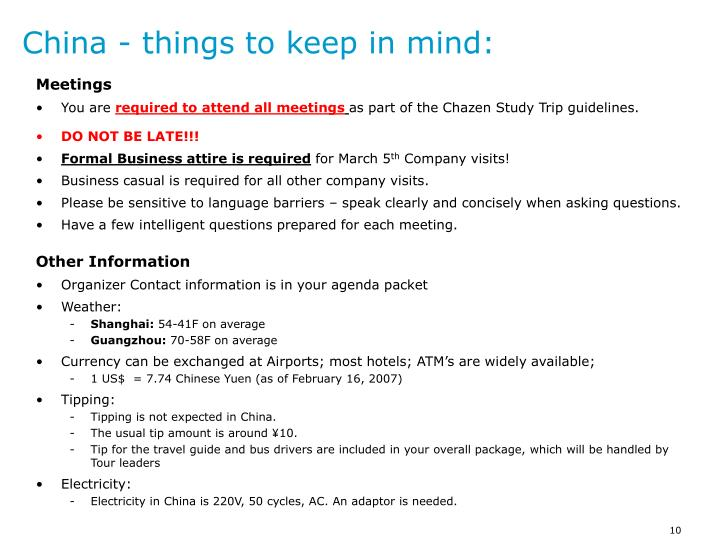 China - things to keep in mind: