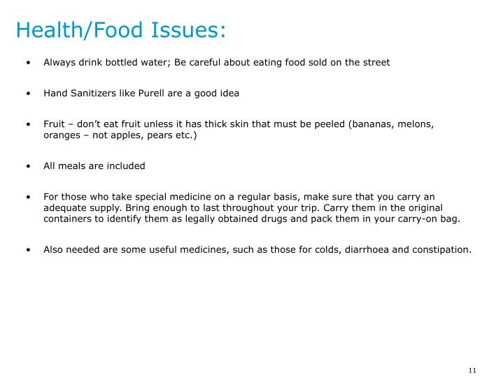 Health/Food Issues: