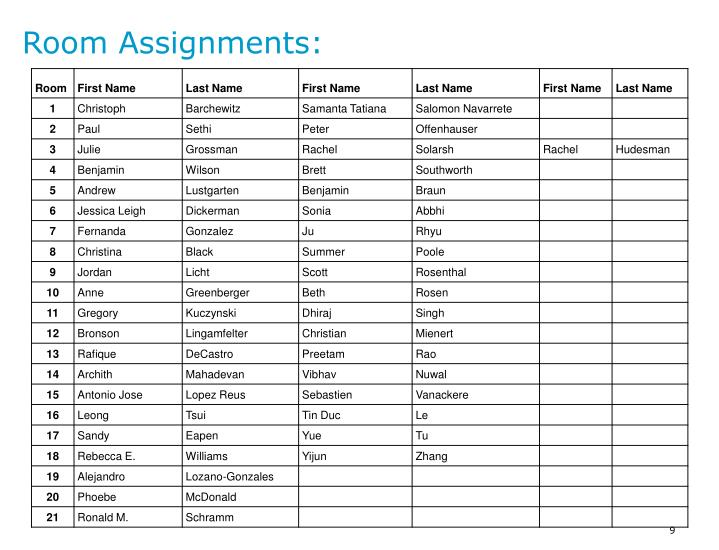 Room Assignments: