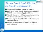 why are social funds effective for disaster management