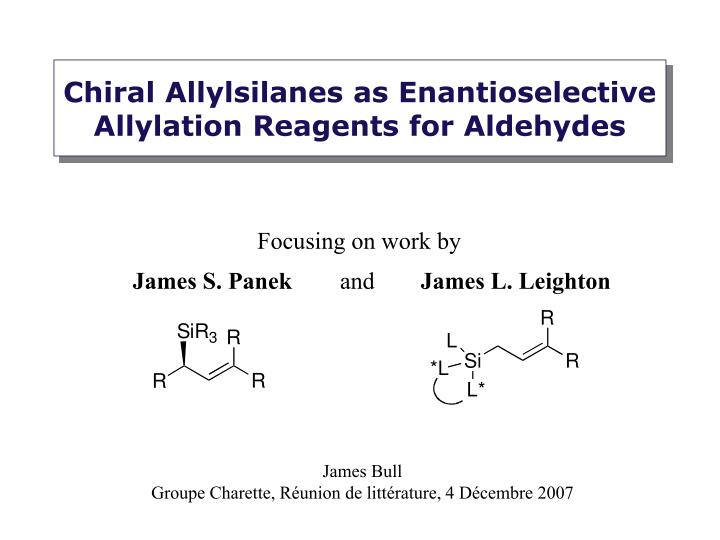 chiral allylsilanes as enantioselective allylation reagents for aldehydes n.