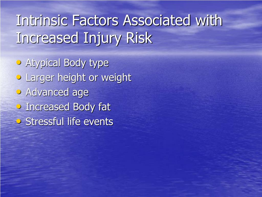 Intrinsic Factors Associated with Increased Injury Risk