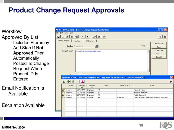 Product Change Request Approvals