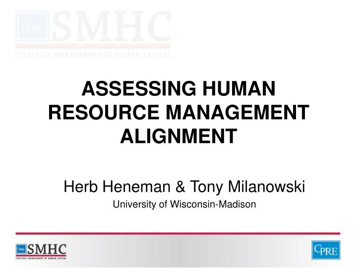 assessing human resource management alignment n.