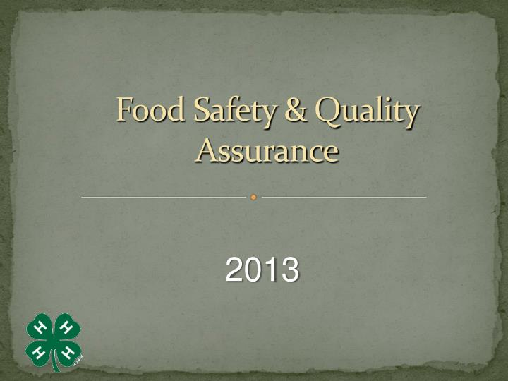 food safety quality assurance n.