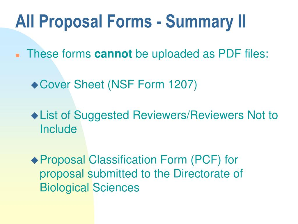 All Proposal Forms - Summary II
