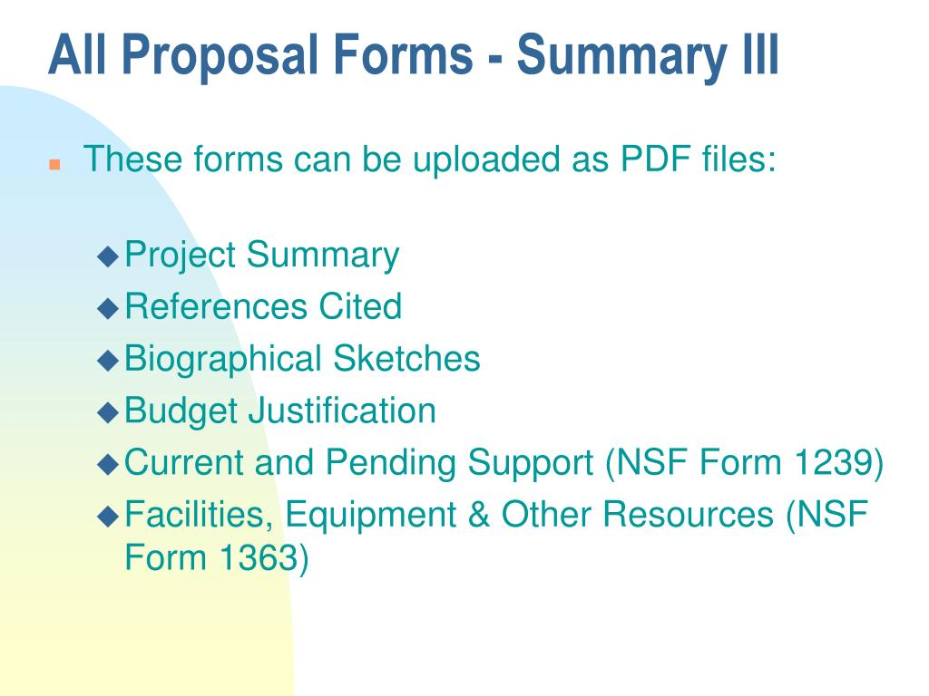 All Proposal Forms - Summary III