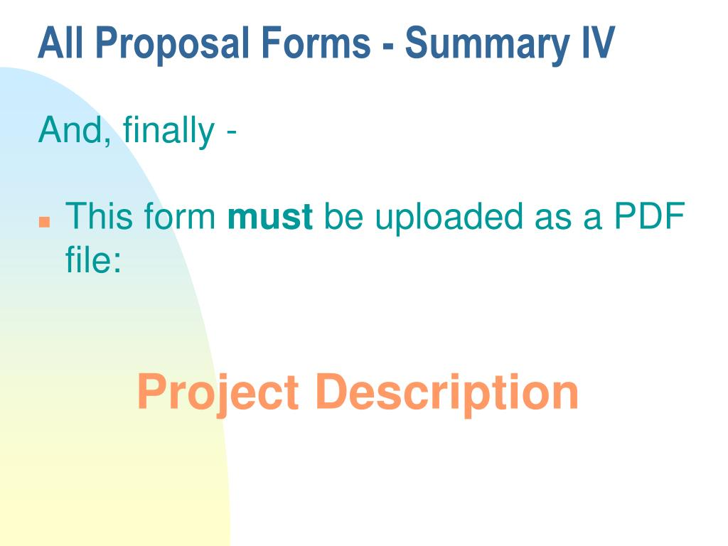 All Proposal Forms - Summary IV