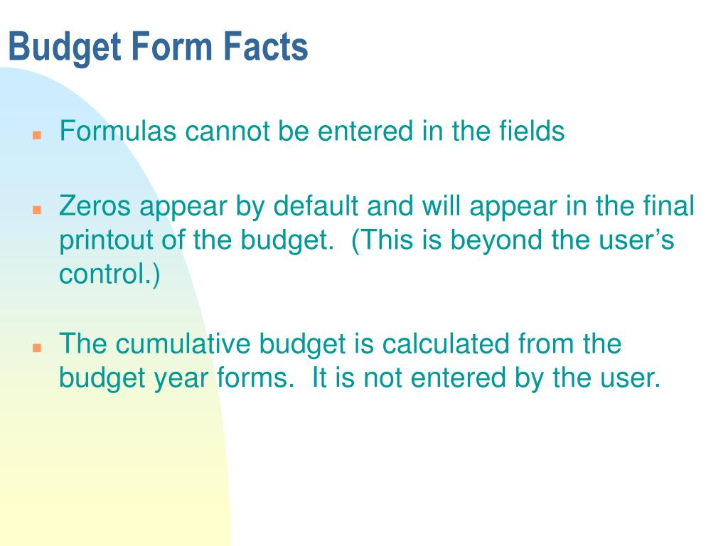 Budget Form Facts