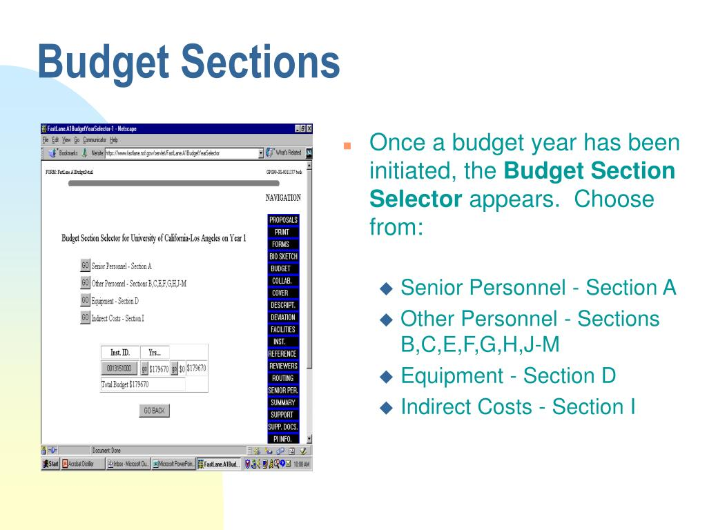 Budget Sections
