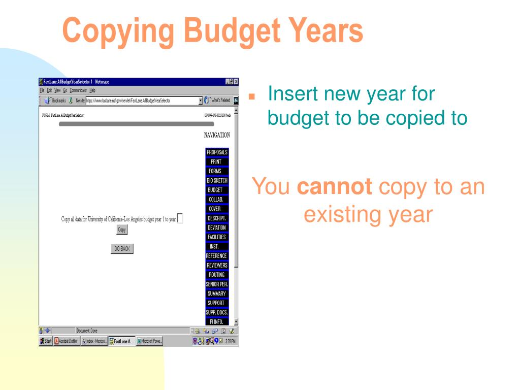 Copying Budget Years