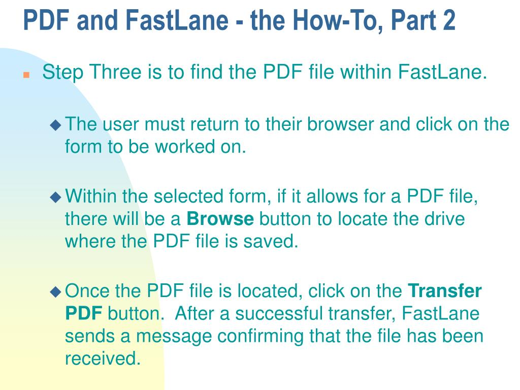 PDF and FastLane - the How-To, Part 2