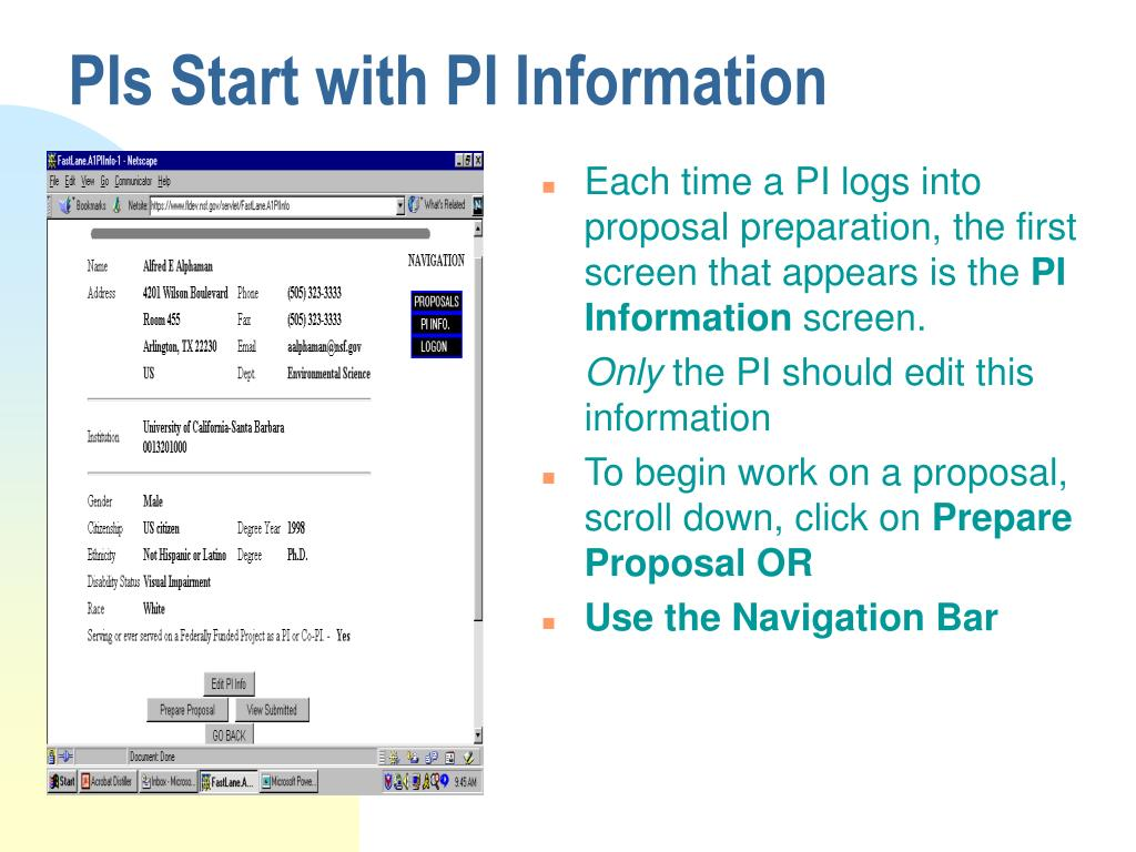PIs Start with PI Information