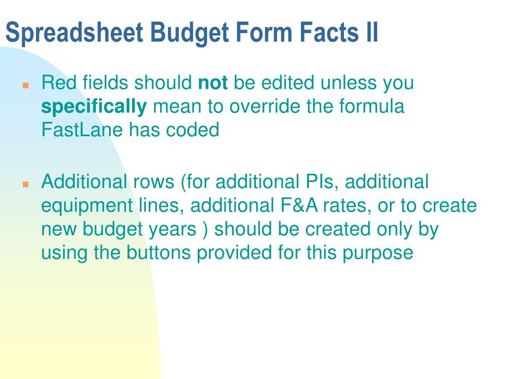 Spreadsheet Budget Form Facts II