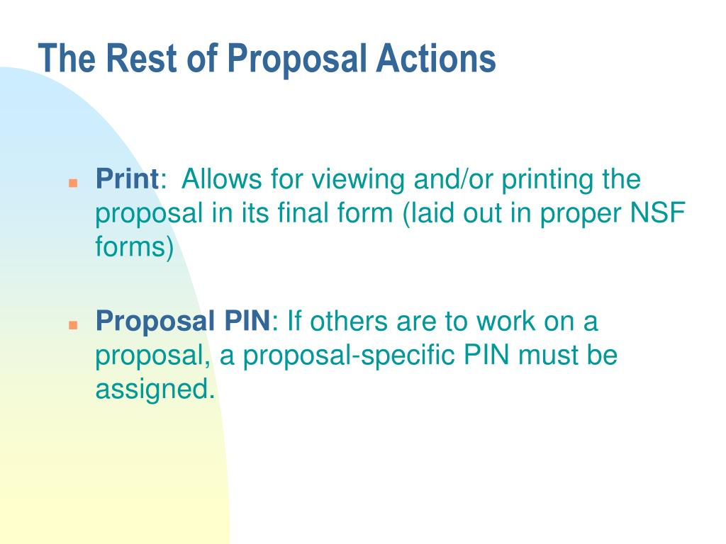 The Rest of Proposal Actions