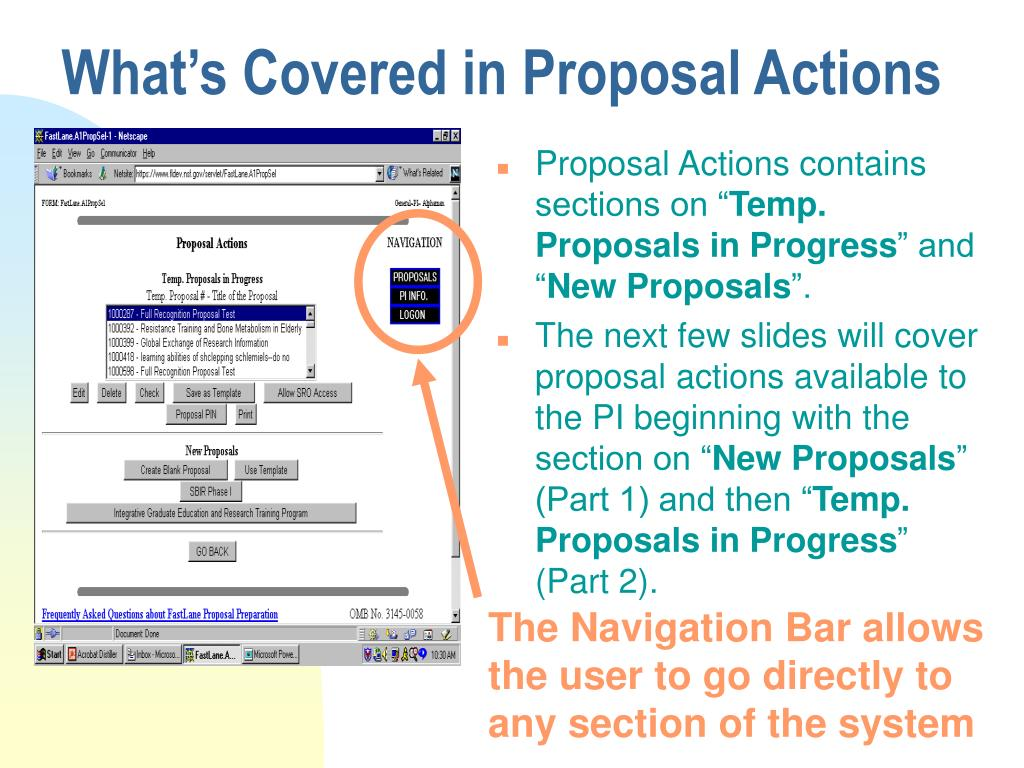 What's Covered in Proposal Actions