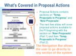 what s covered in proposal actions