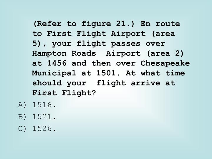 (Refer to figure 21.) En route to First Flight Airport (area 5), your flight passes over Hampton Roads  Airport (area 2) at 1456 and then over Chesapeake Municipal at 1501. At what time should your  flight arrive at First Flight?
