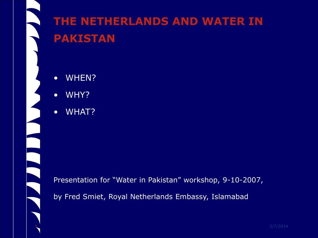 the netherlands and water in pakistan l.
