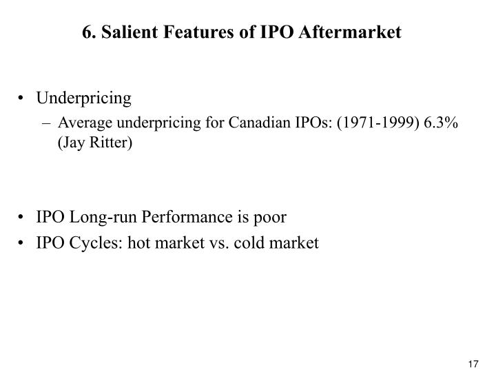 6. Salient Features of IPO Aftermarket