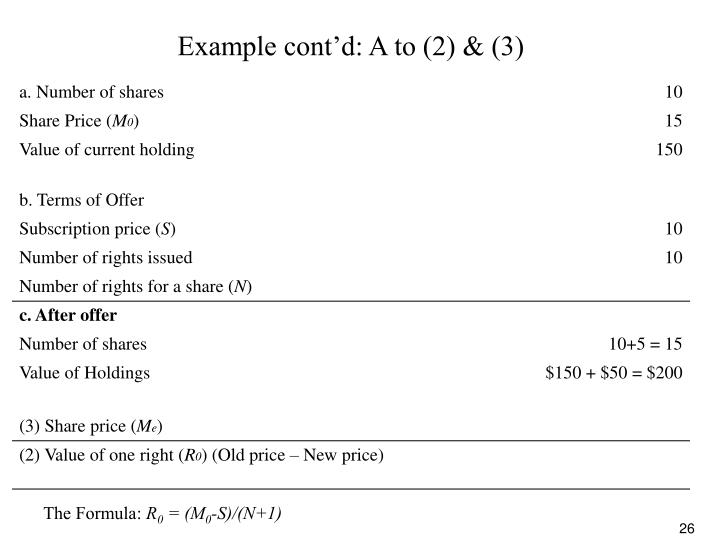 Example cont'd: A to (2) & (3)