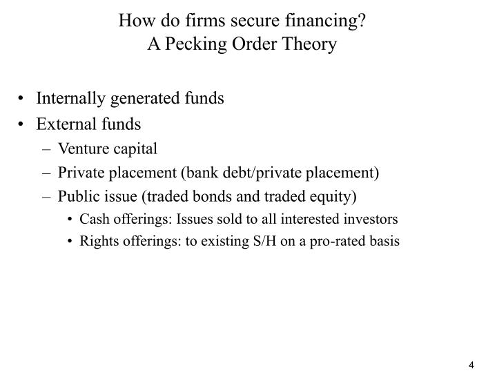 How do firms secure financing?