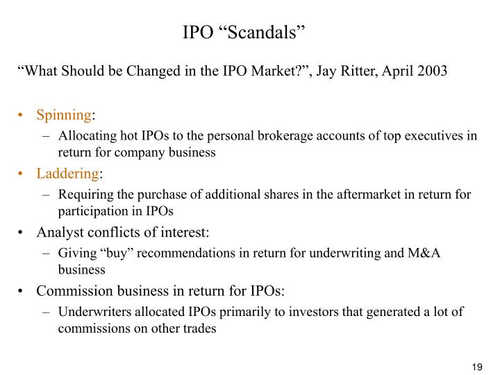 """IPO """"Scandals"""""""