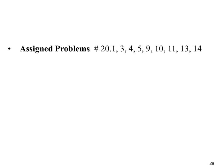 Assigned Problems