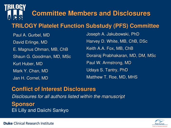 Committee members and disclosures
