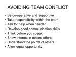 avoiding team conflict