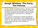 gough whitlam the party the policies