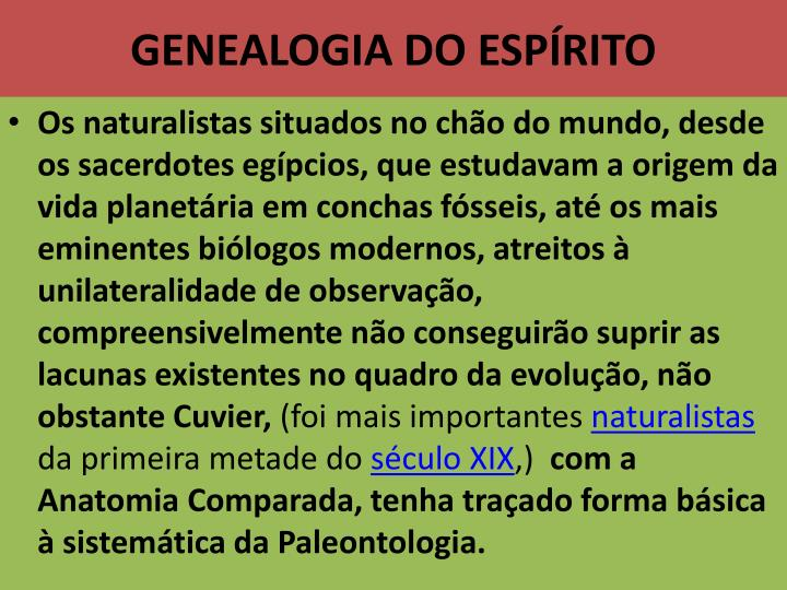 GENEALOGIA DO ESPÍRITO