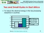 tea and small hydro in east africa