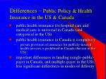 differences public policy health insurance in the us canada