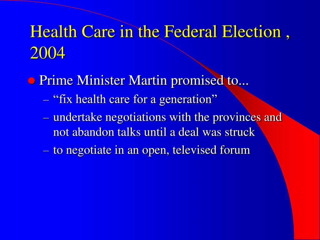 Health Care in the Federal Election , 2004