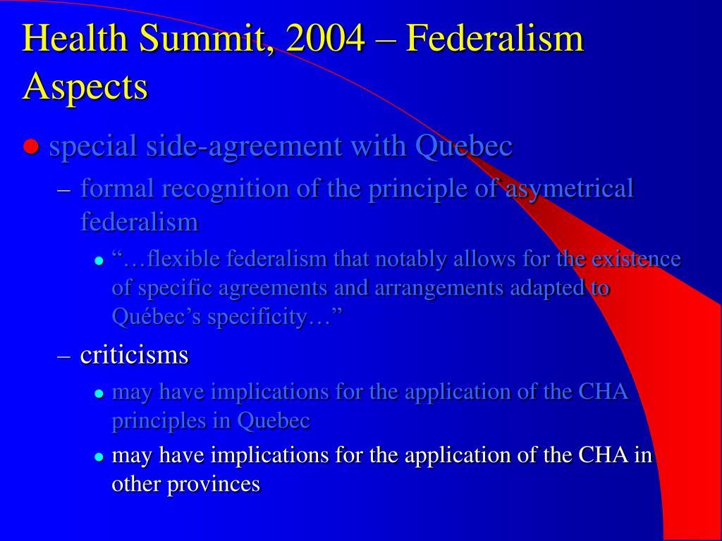 Health Summit, 2004 – Federalism Aspects
