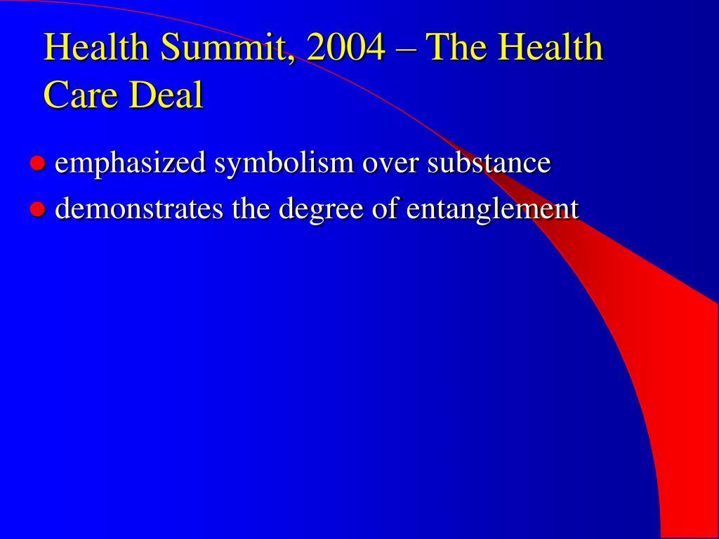 Health Summit, 2004 – The Health Care Deal