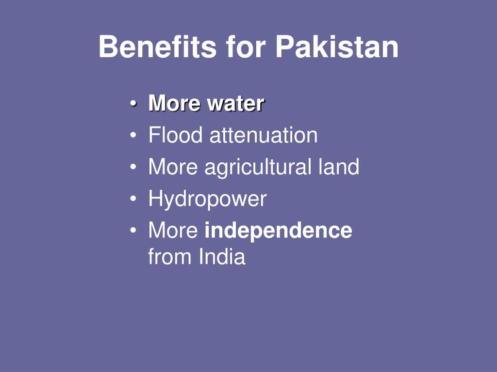 Benefits for Pakistan