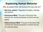 explaining human behavior