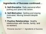 ingredients of success continued