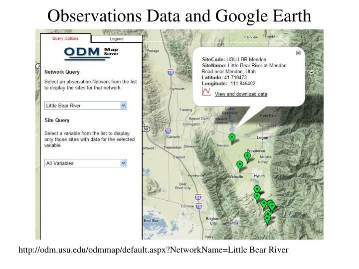 Observations Data and Google Earth