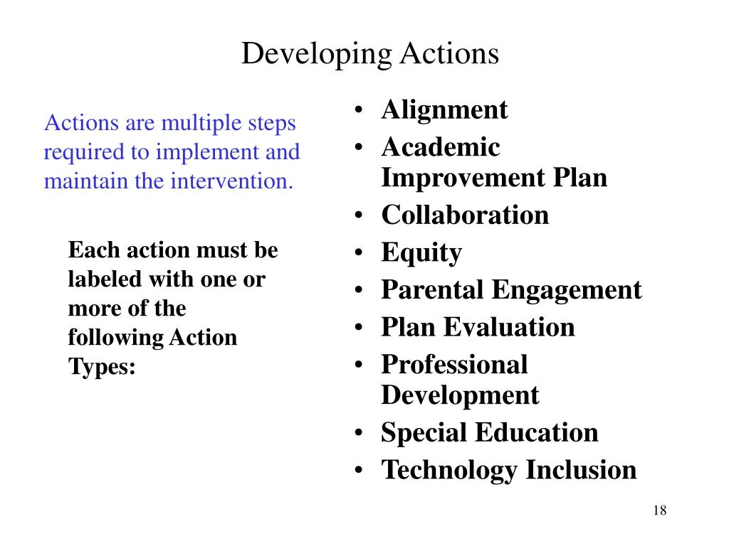 Developing Actions