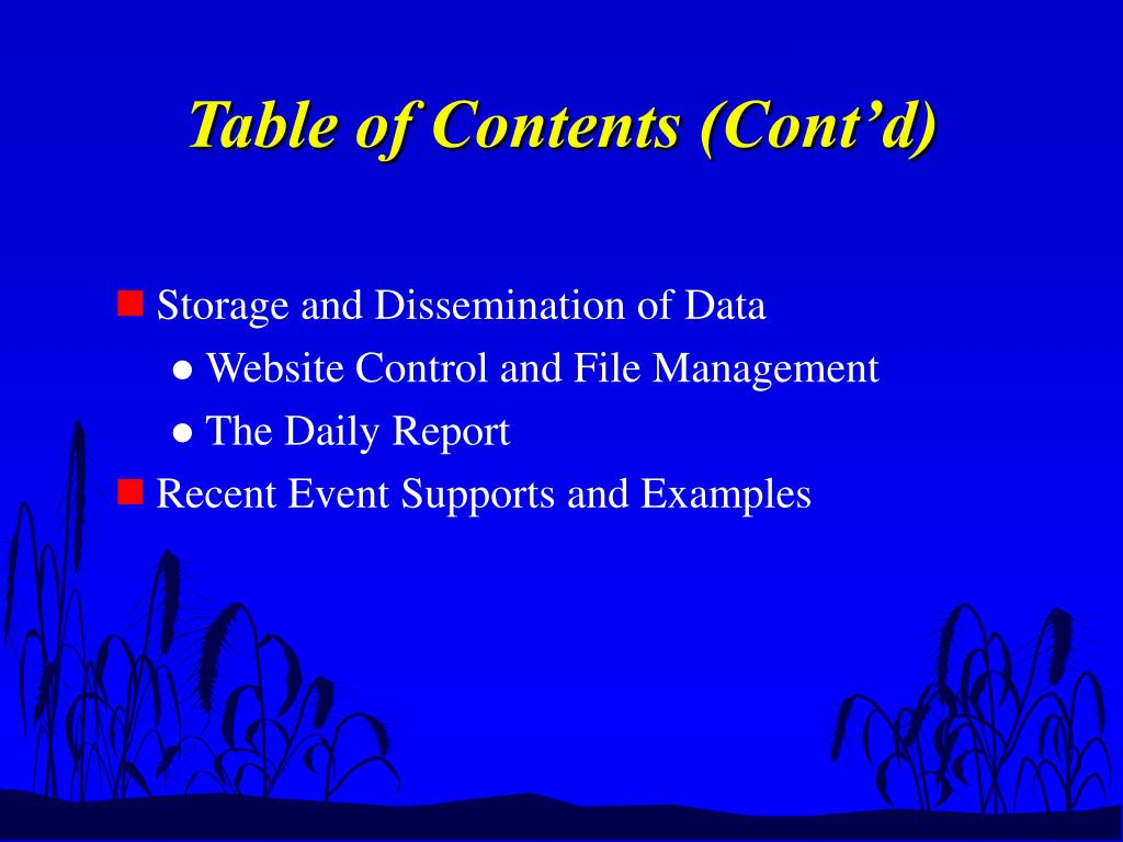 Table of Contents (Cont