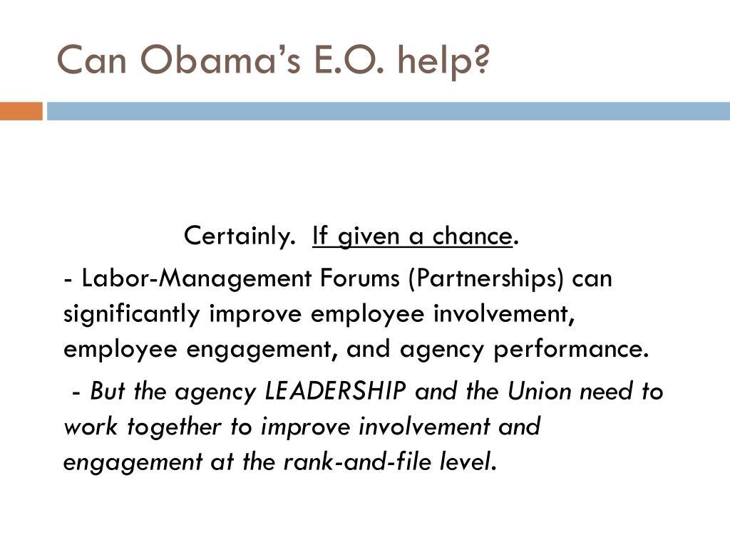 Can Obama's E.O. help?