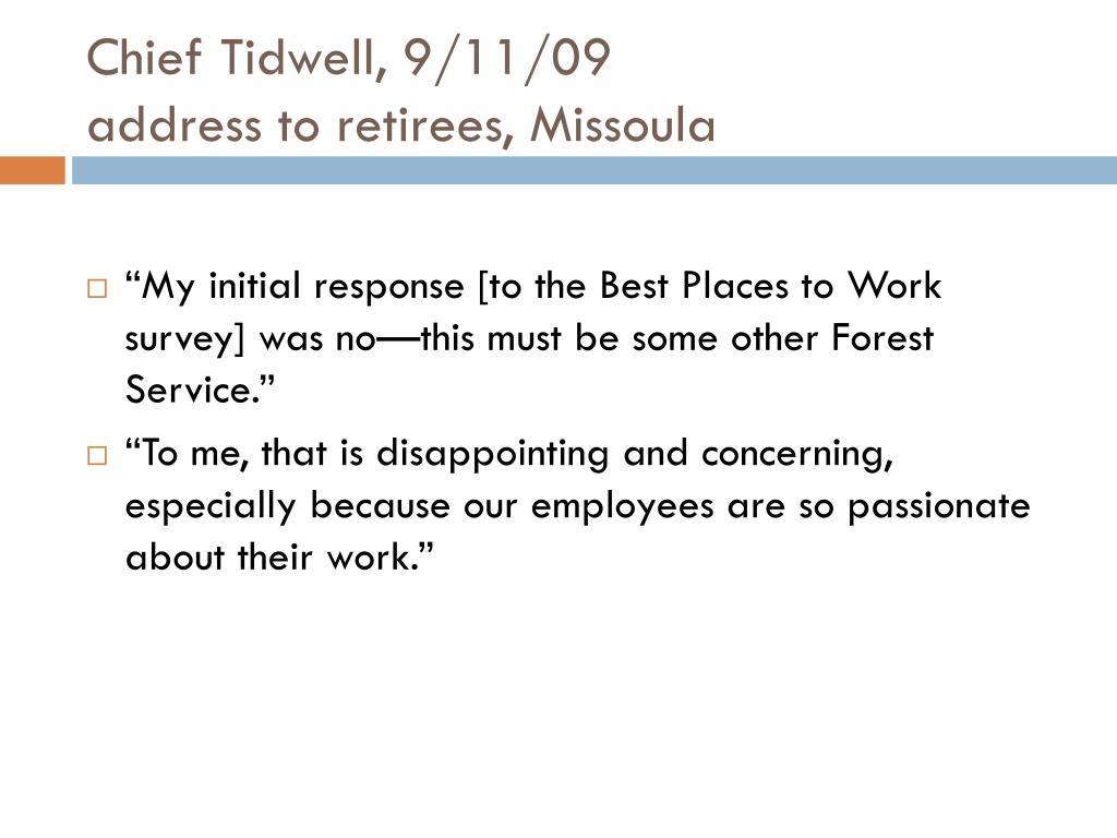 Chief Tidwell, 9/11/09