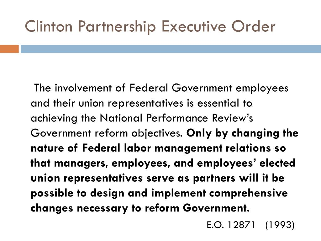 Clinton Partnership Executive Order