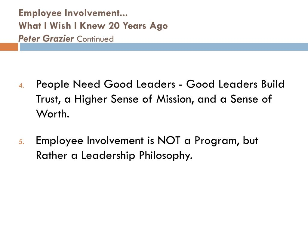 Employee Involvement...