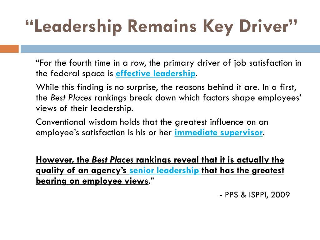 """Leadership Remains Key Driver"""